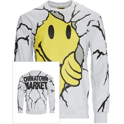 Smiley Dry Wall Breaker Crewneck Regular fit | Smiley Dry Wall Breaker Crewneck | Grå